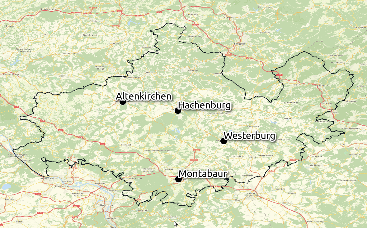 Karte Region Westerwald © Open Street Map - CC-BY-SA 2.0